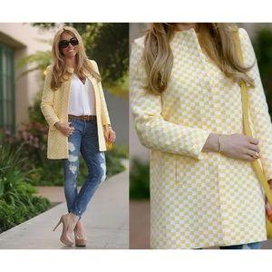 Women's Zara Yellow Car Coat Size L Checked